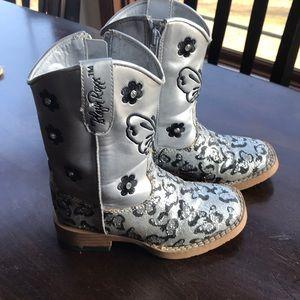 Little girls silver cowboy boots